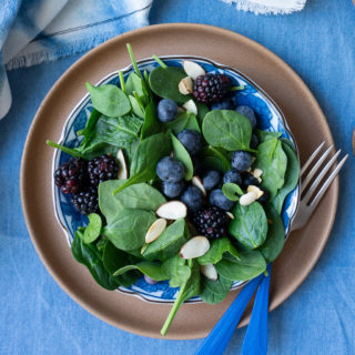 Blueberry Spinach Salad with Almonds on plate