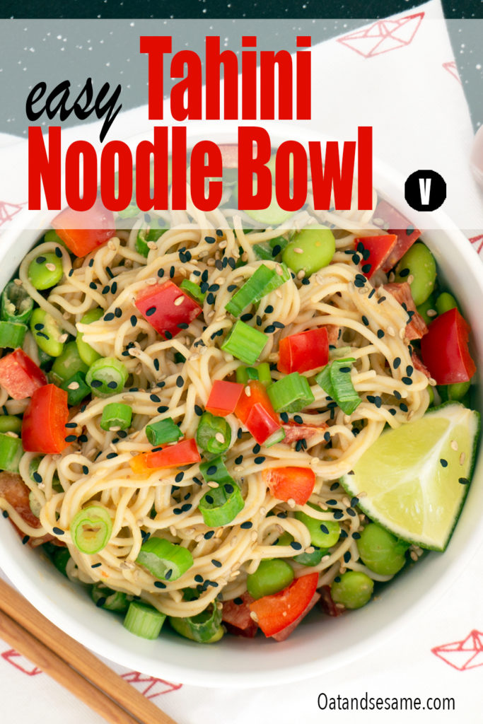 Tahini Noodle Bowl with red peppers and edamame on top