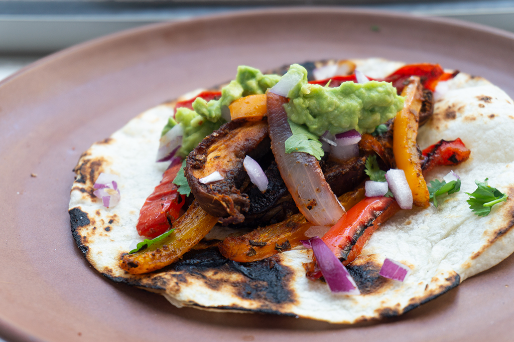 Vegetarian Sheet Pan Fajitas close up on plate